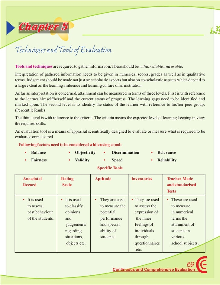Chapter 5Techniques and Tools of EvaluationTools and techniques are required to gather information. These should be valid,...
