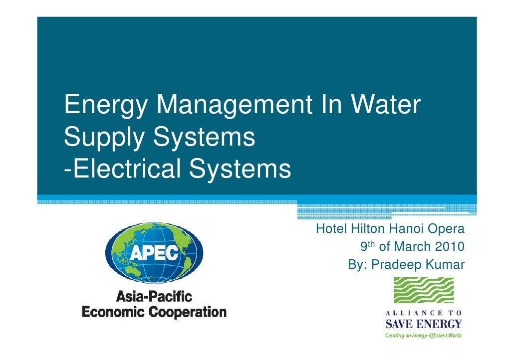 5: Energy Management In Water Supply Systems - Electrical Systems