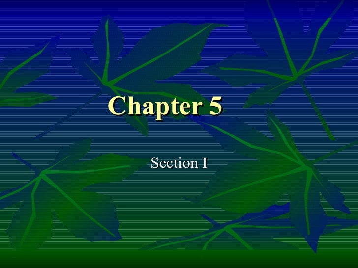 Chapter 5 Section I