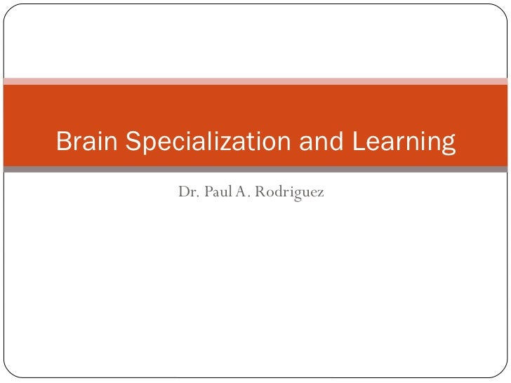Dr. Paul A. Rodriguez Brain Specialization and Learning