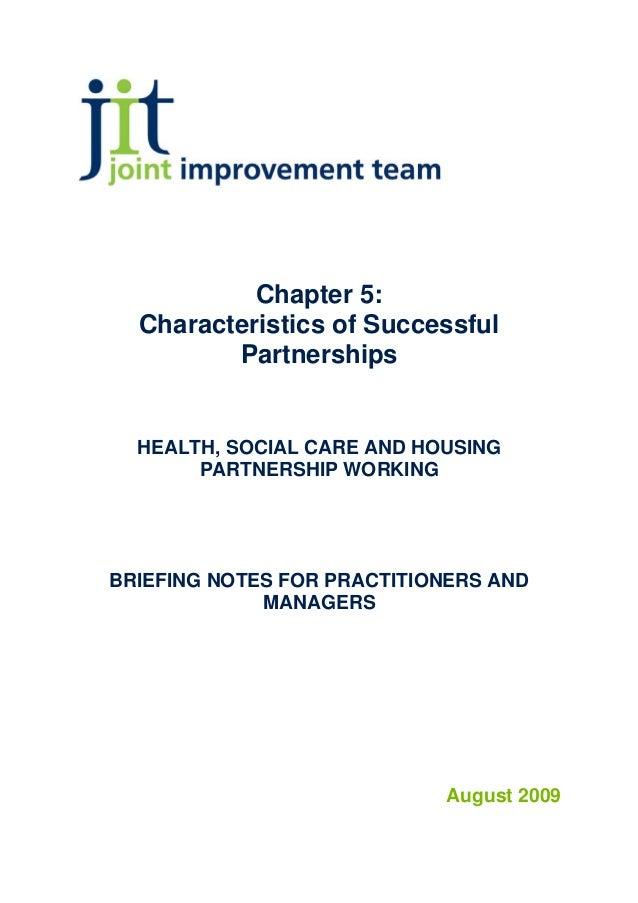 Chapter 5 characteristics of successful partnership