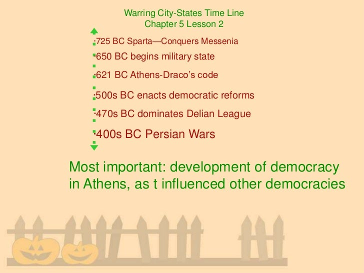 Warring City-States Time Line               Chapter 5 Lesson 2   ·725 BC Sparta—Conquers Messenia   ·650 BC begins militar...