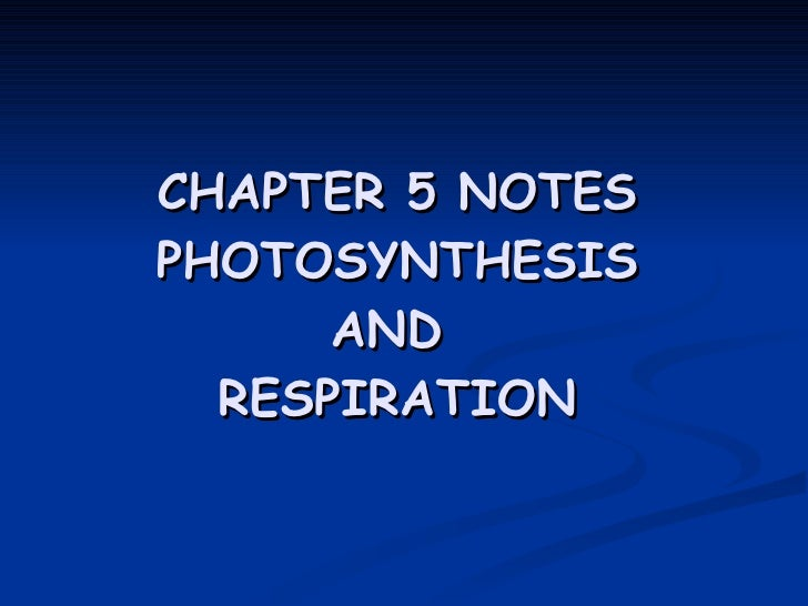 CHAPTER 5 NOTES PHOTOSYNTHESIS AND  RESPIRATION