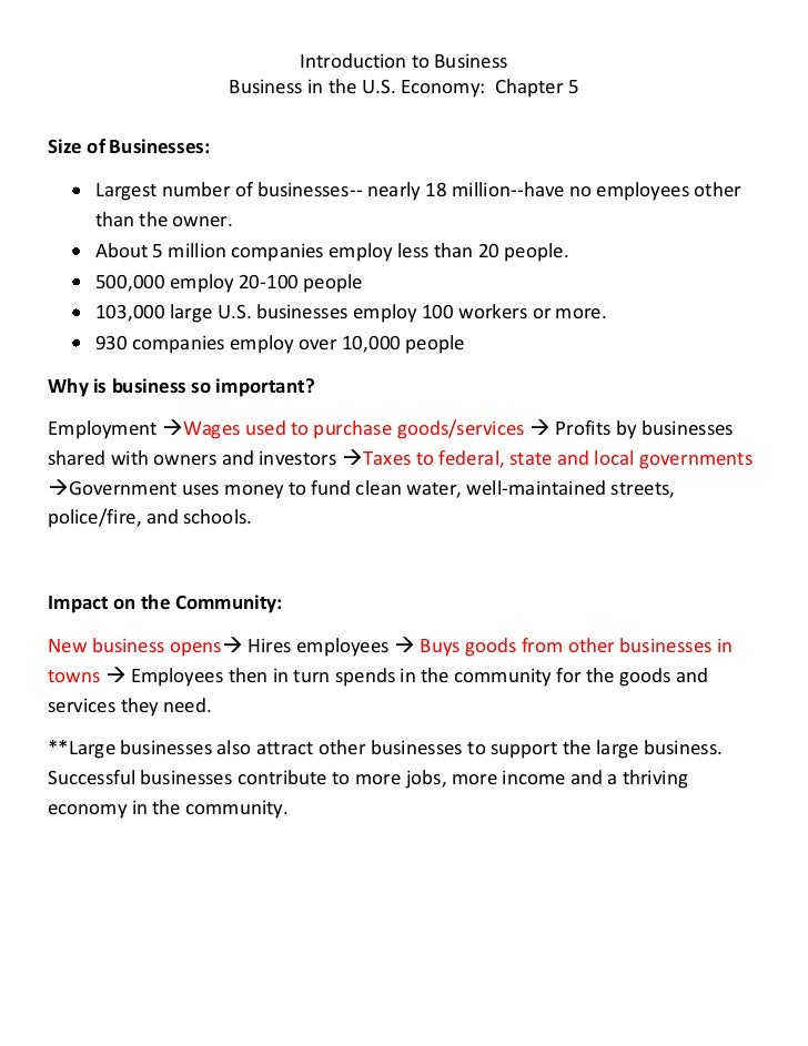 Introduction to Business                      Business in the U.S. Economy: Chapter 5Size of Businesses:     Largest numbe...