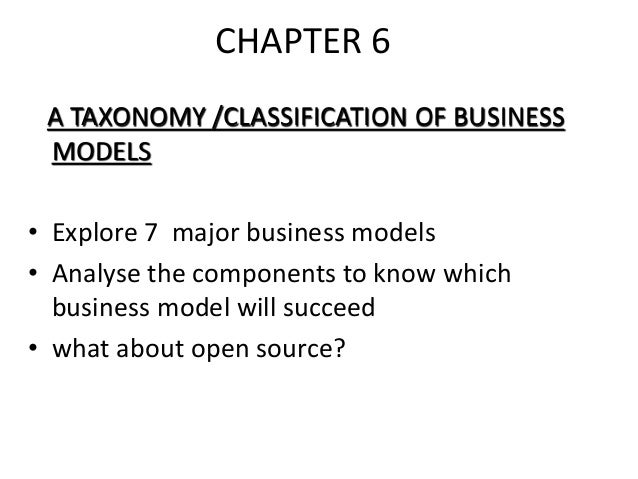 CHAPTER 6 A TAXONOMY /CLASSIFICATION OF BUSINESS MODELS • Explore 7 major business models • Analyse the components to know...