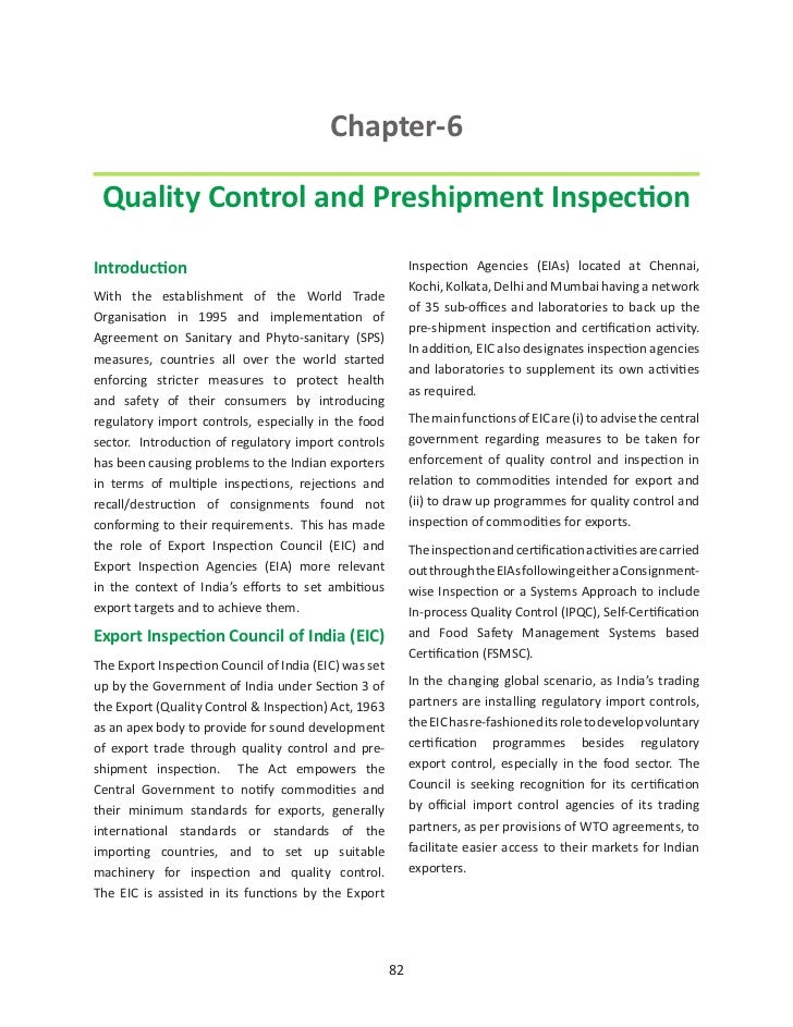 Chapter-6 Quality Control and Preshipment InspectionIntroduction                                                Inspection...