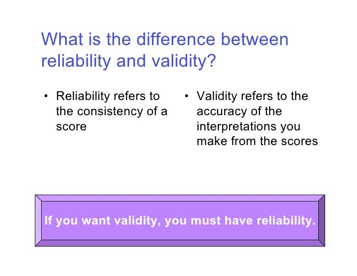 the relationship between relevance and reliability What is the relationship between the true score variance and the reliability of the test directly related what is the difference between reliability and objectivity.