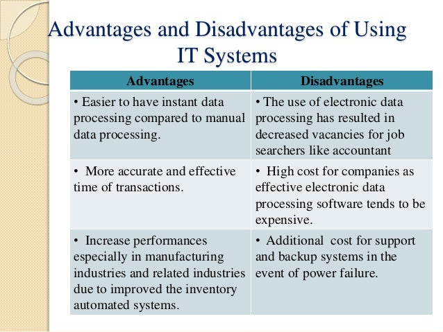 advantages and disadvantages of a computerized accounting system This lesson explains what a computerized accounting system is, how a company selects a system, and what the advantages and disadvantages of.