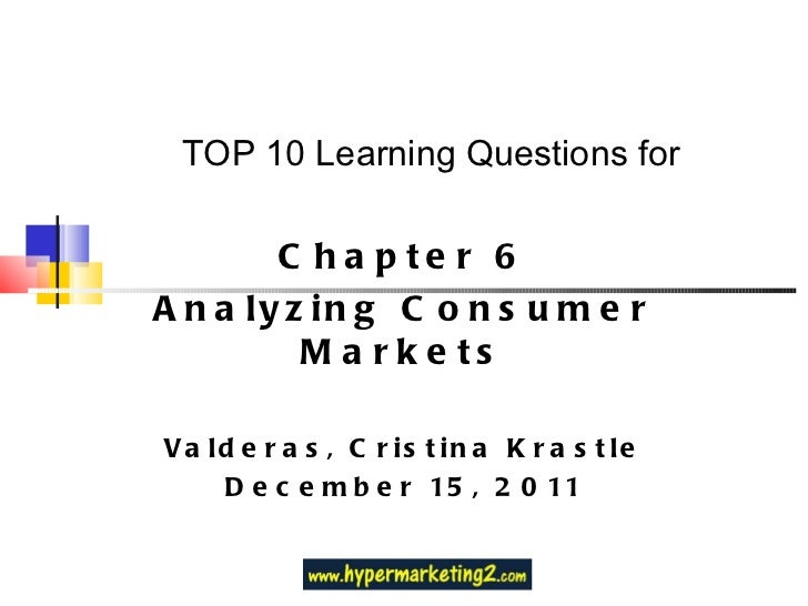 TOP 10 Learning Questions for Chapter 6 Analyzing Consumer Markets Valderas, Cristina Krastle December 15, 2011