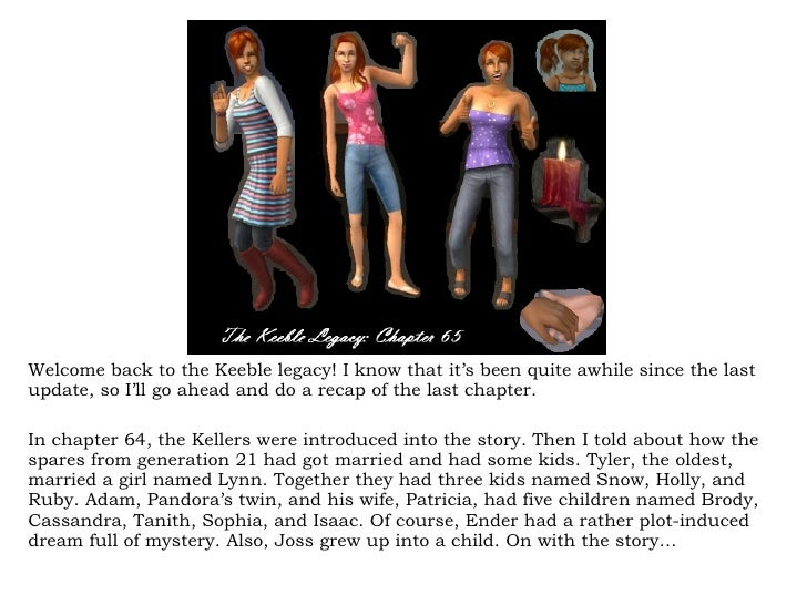 Welcome back to the Keeble legacy! I know that it's been quite awhile since the last update, so I'll go ahead and do a rec...