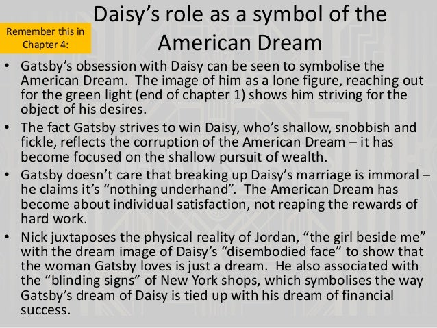 an essay on the american dream in the great gatsby Sample student essays on the great gatsby (protected by turnitincom)  daisy is evidently personified as the american dream throughout the great gatsby.