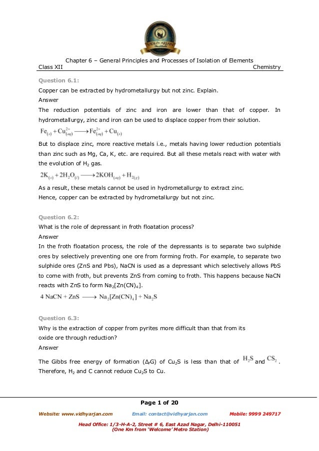 Class XII  Chapter 6 – General Principles and Processes of Isolation of Elements Chemistry  Question 6.1: Copper can be ex...