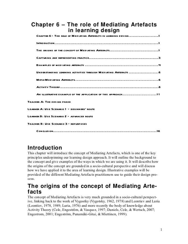 Chapter 6 – The role of Mediating Artefacts              in learning design     Chapter 6 – The role of Me diating Artefac...
