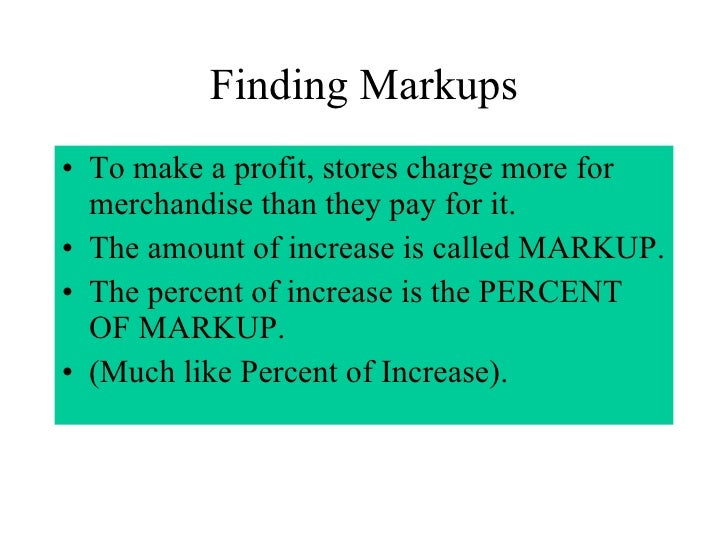 How to solve markup problems