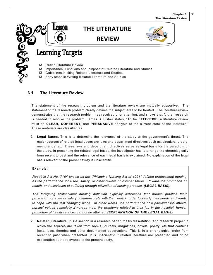 Literature review for masters thesis proposal