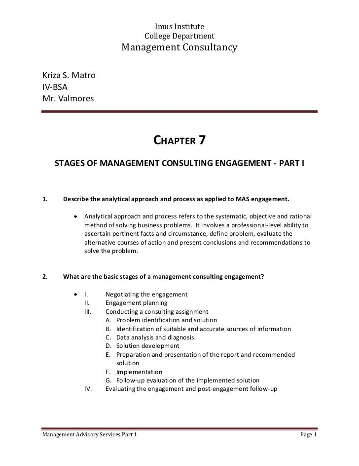 CHAPTER 7<br />STAGES OF MANAGEMENT CONSULTING ENGAGEMENT - PART I<br /><ul><li>Describe the analytical approach and proce...