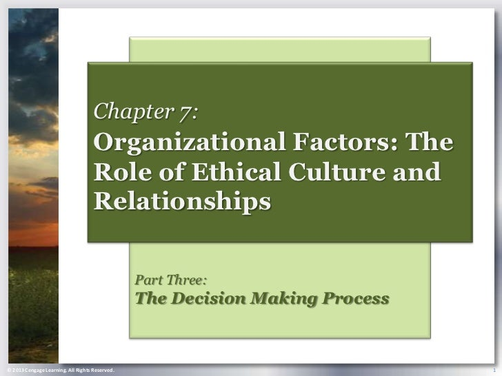 Chapter 7:                                    Organizational Factors: The                                    Role of Ethic...