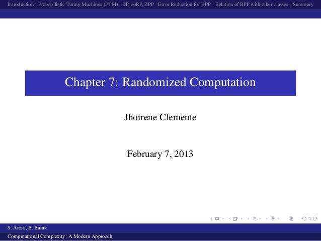 Randomized Computation