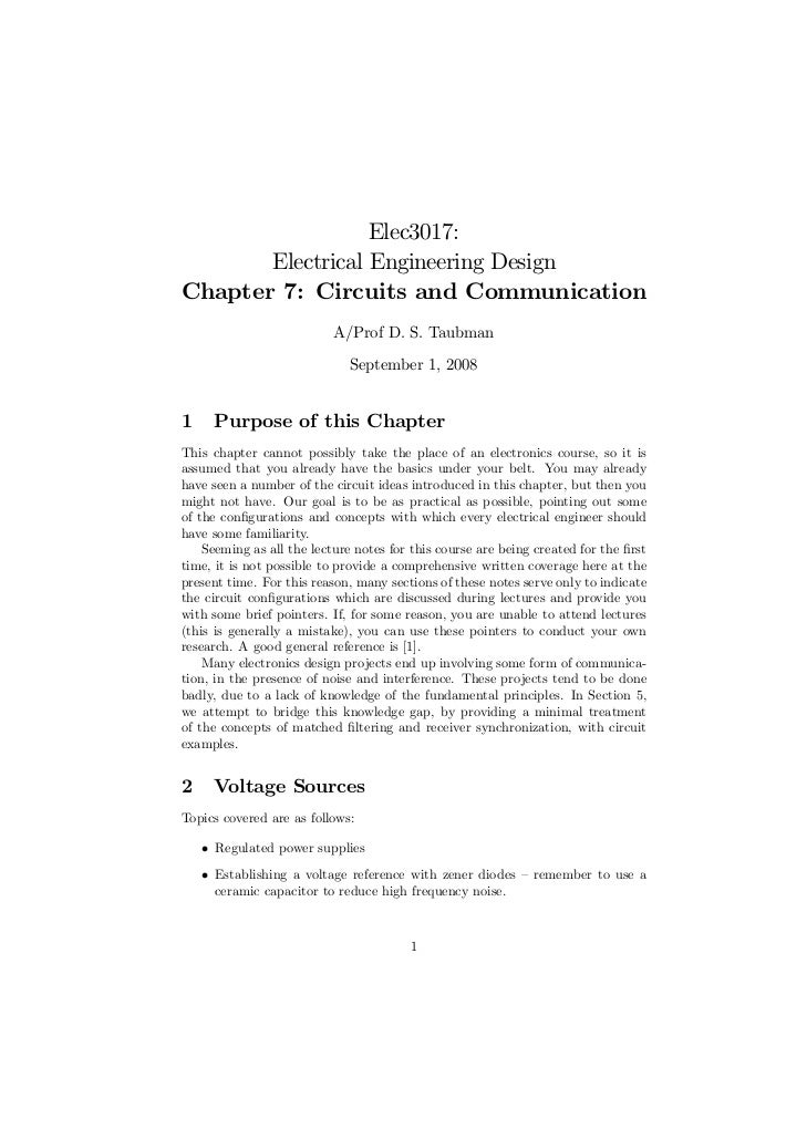 Elec3017:       Electrical Engineering DesignChapter 7: Circuits and Communication                           A/Prof D. S. ...