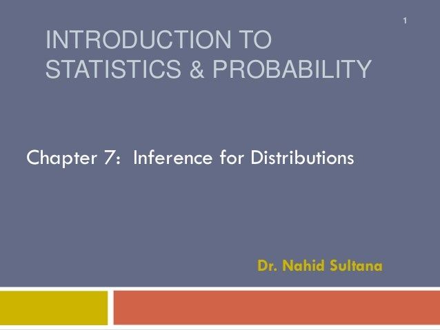INTRODUCTION TO STATISTICS & PROBABILITY Chapter 7: Inference for Distributions Dr. Nahid Sultana 1