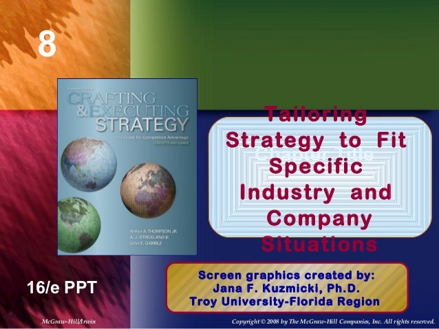 8 Chapter Title 16/e PPT Tailoring Strategy to Fit Specific Industry and Company Situations Screen graphics created by: Ja...