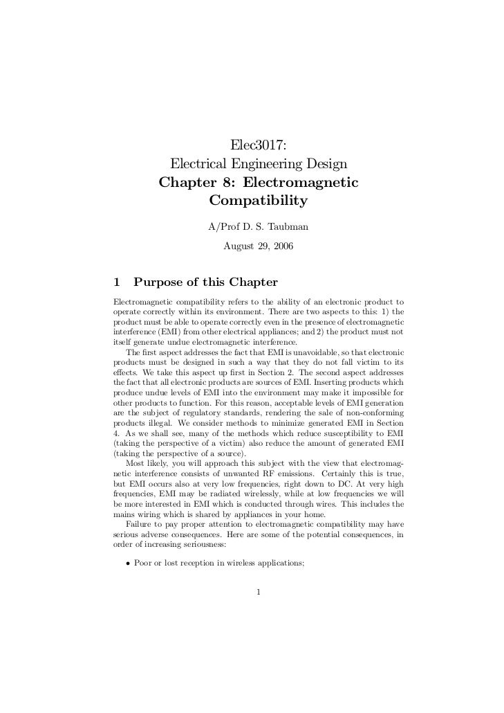 Elec3017:              Electrical Engineering Design             Chapter 8: Electromagnetic                     Compatibil...