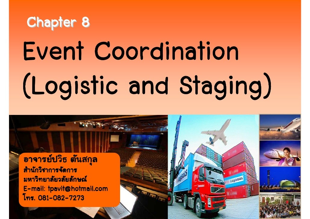 Chapter 8   event coordination (logistics and staging)