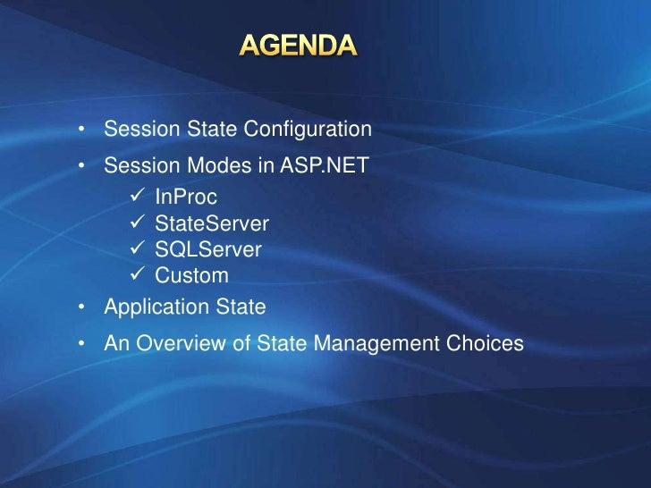 • Session State Configuration• Session Modes in ASP.NET     InProc     StateServer     SQLServer     Custom• Applicati...
