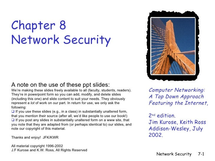 Chapter 8Network SecurityA note on the use of these ppt slides:We're making these slides freely available to all (faculty,...
