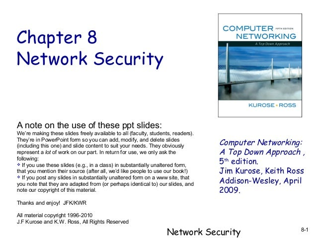 Chapter 8 Network Security  A note on the use of these ppt slides: We're making these slides freely available to all (facu...