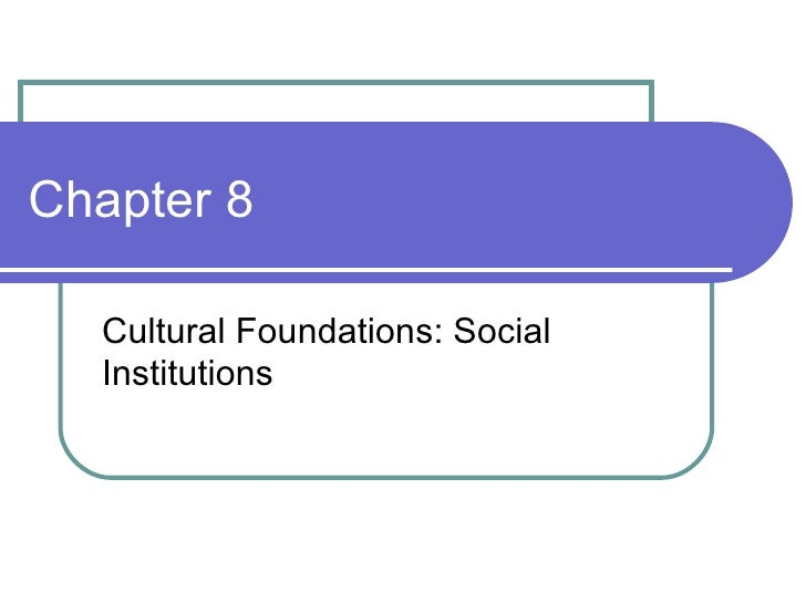 Chapter 8 Cultural Foundations: Social Institutions