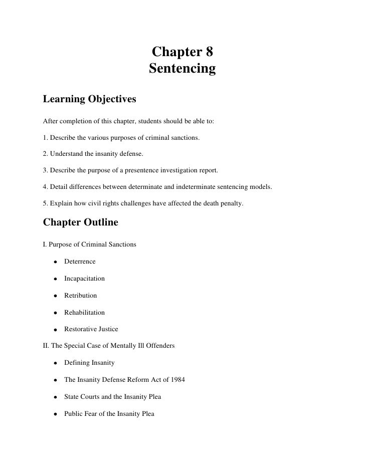 Chapter 8                                      SentencingLearning ObjectivesAfter completion of this chapter, students sho...