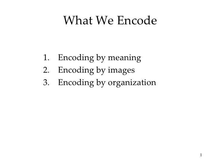 What We Encode  1. Encoding by meaning 2. Encoding by images 3. Encoding by organization                                  ...