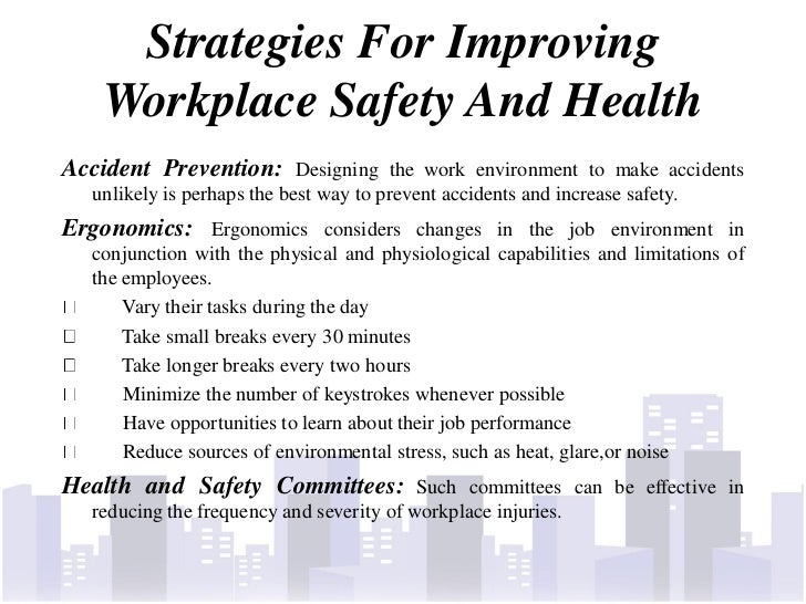 improving occupational safety and health intervention Kentucky occupational safety and health it is the goal of kiprc occupational safety and health programs to improve occupational injury and intervention in.
