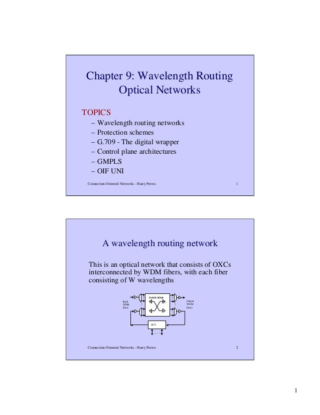 Chapter 9: Wavelength Routing Optical Networks TOPICS – – – – – –  Wavelength routing networks Protection schemes G.709 - ...