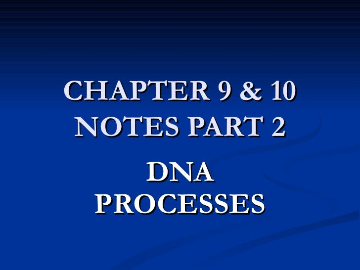 CHAPTER 9 & 10 NOTES PART 2 DNA PROCESSES