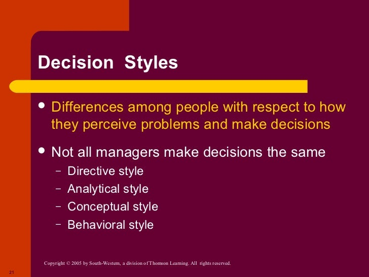 a summary of managerial decision making Executive summary guide to the global framework to guide management accountants in supporting decision-making management accounting principles set out in pas.