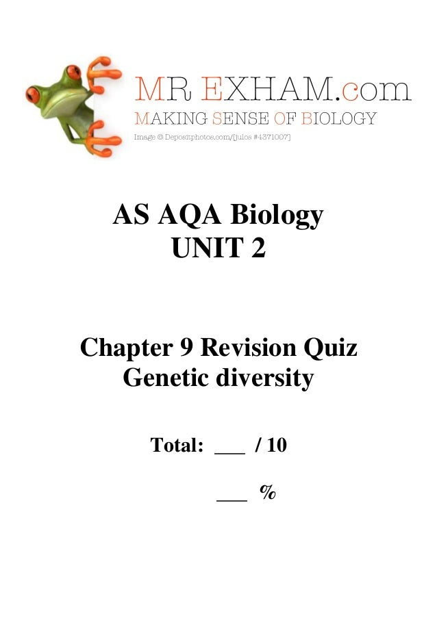 AQA AS Biology - Unit 2 - Chapter 9