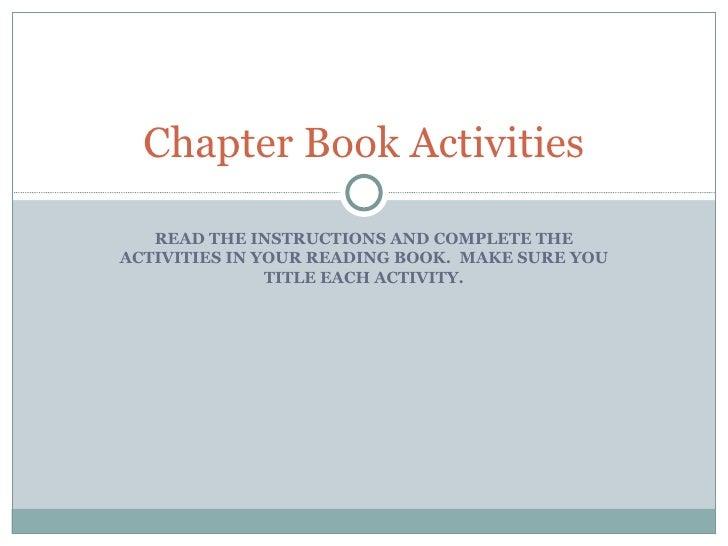 Chapter Book Activities