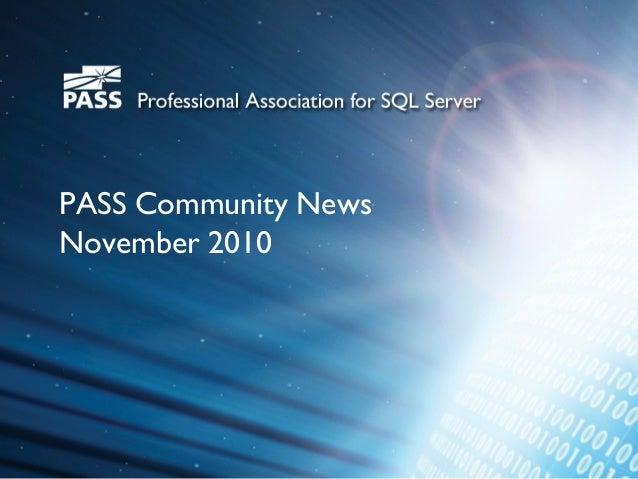 PASS Community News November 2010