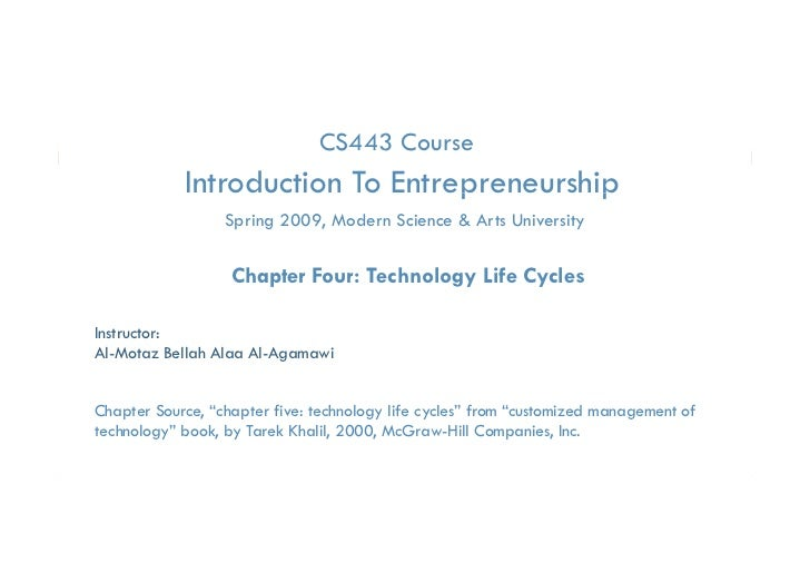 Essential of Technology Entrep. & Innovation- Chapter four  technology life cycles