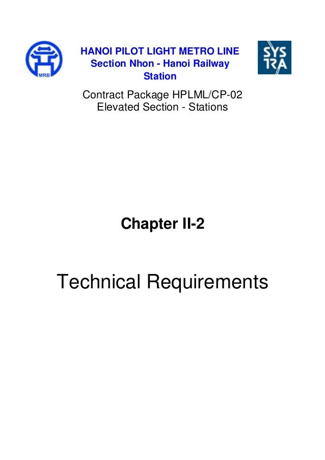 Contract Package HPLML/CP-02 Elevated Section - Stations Chapter II-2 Technical Requirements HANOI PILOT LIGHT METRO LINE ...