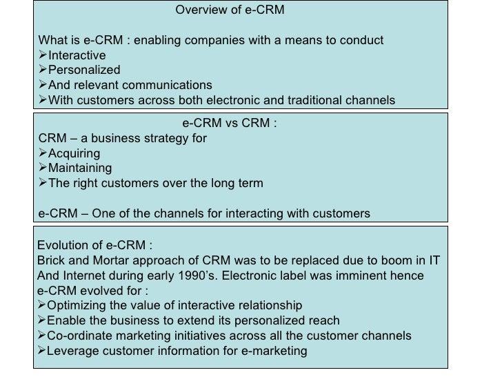 <ul><li>Overview of e-CRM  </li></ul><ul><li>What is e-CRM : enabling companies with a means to conduct </li></ul><ul><li>...