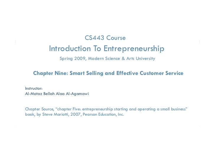 CS443 Course              Introduction To Entrepreneurship                                   p         p                  ...