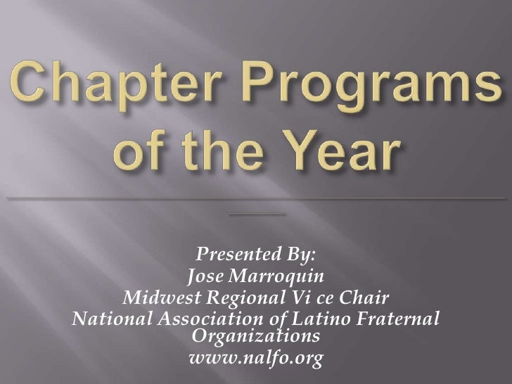 Chapter Of The Year Programs
