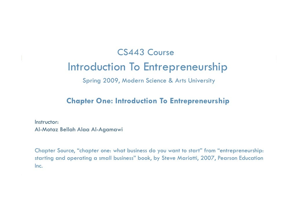Essential of Technology Entrep & Innovation- Chapter one introduction to entrepreneurship