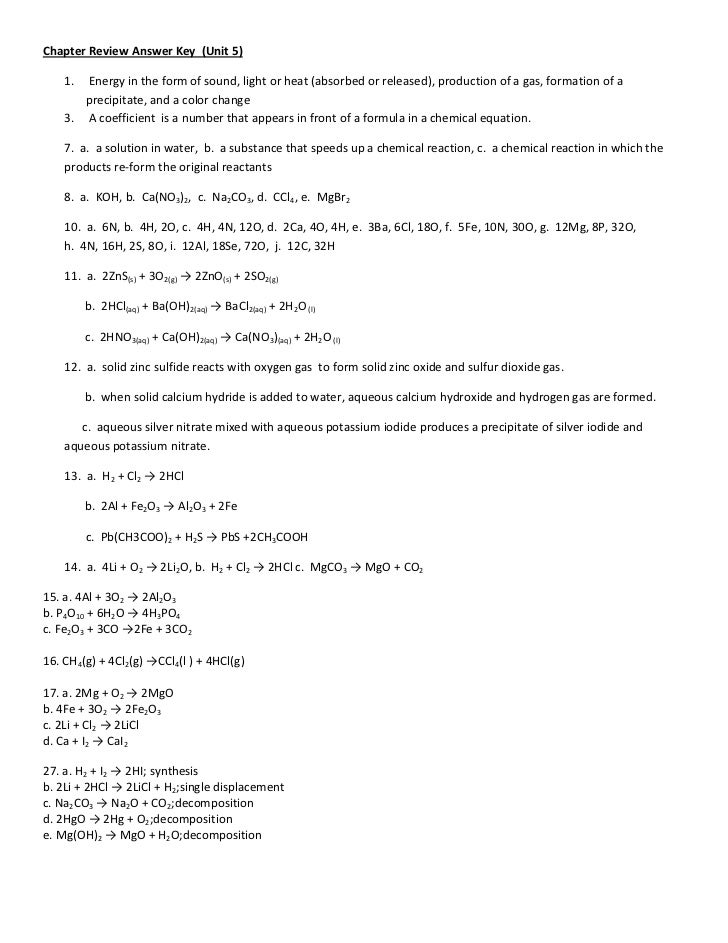 Chapter Review Answer Key