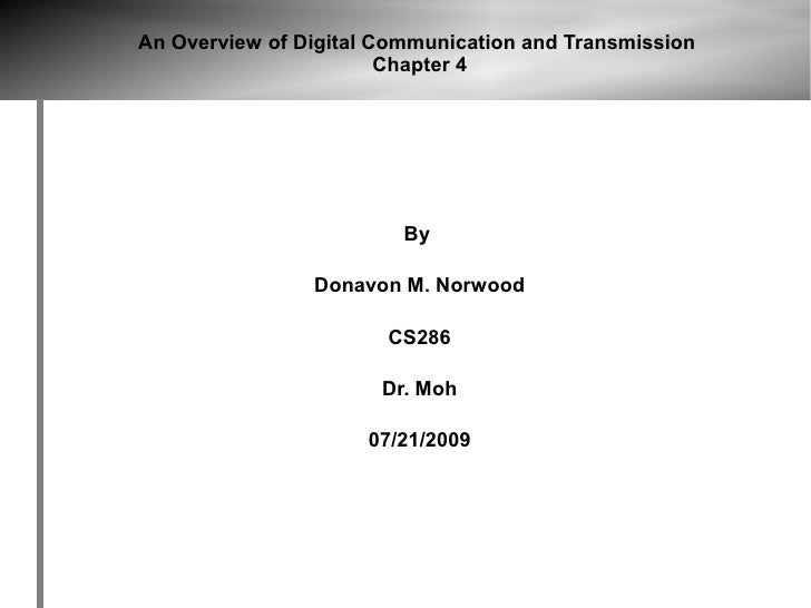 An Overview of Digital Communication and Transmission