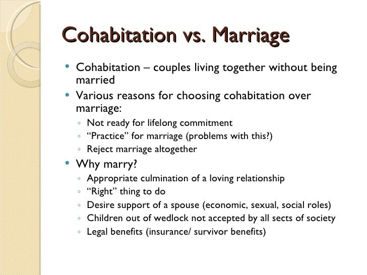 cohabitation essay Cohabitation is a tentative, nonlegal coresidential union that does not require or imply a lifetime commitment to stay together perhaps as a result, cohabread more here.