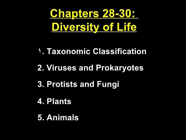 Chapters 28-30:  Diversity of Life <ul><li>Taxonomic Classification </li></ul>2. Viruses and Prokaryotes 3. Protists and F...